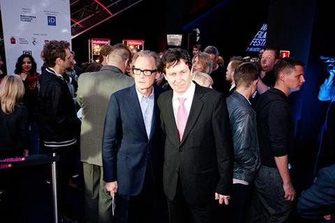 Page Eight's lead actor Bill Nighy and festival director Stefan Laudyn at the opening evening